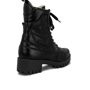 Chase + Chloe Shoes - Women's Lace Up Black Ankle Combat Boots